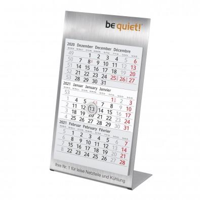 3-Monats-Tischkalender aus Metall 2021/2022, gebürsteter Edelstahl
