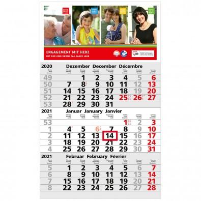 3-Monats-Wandkalender Basic 2020, Hellgrau