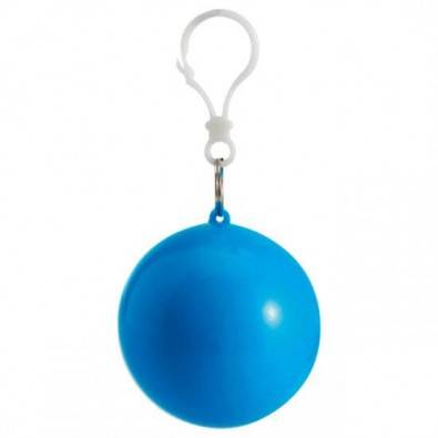 Notfallponcho im Kunststoffball Hellblau