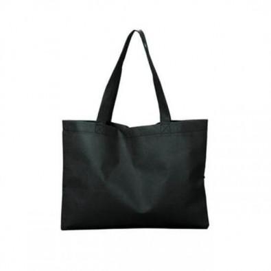 Maxi-Vliestasche Textile mit langen Henkeln, Schwarz