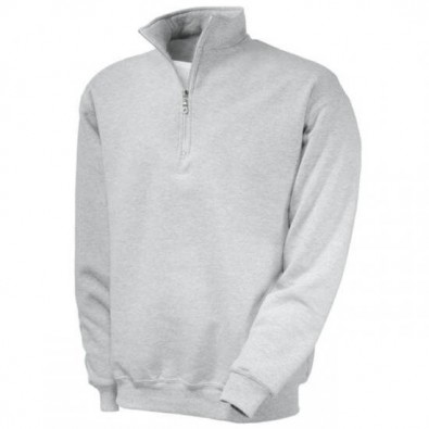 Original Fruit of the Loom® Zip-Neck-Sweat, Grau, M