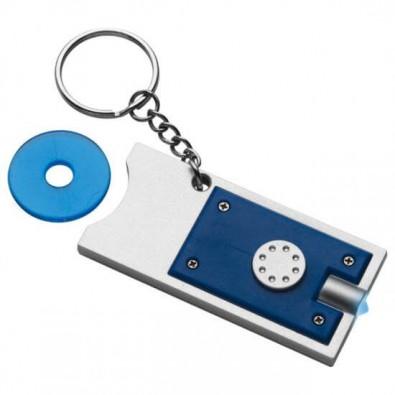 Schlüsselleuchte mit Einkaufswagenchip Blau