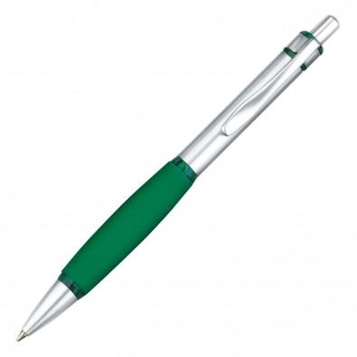 Metall-Druckkugelschreiber Rubber Grip Silber/Grün