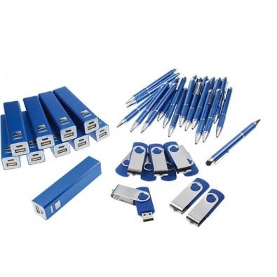Werbe-Sparset: Powerbank, Touch-Kugelschreiber, USB-Stick, 120-tlg, Blau