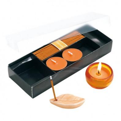 Entspannungs-Set Scent mit Räucherstäbchen und Teelichtern Orange