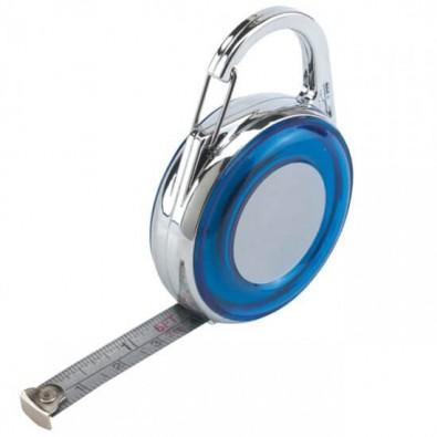 Bandmaß mit Karabiner, 2m Blau/Silber