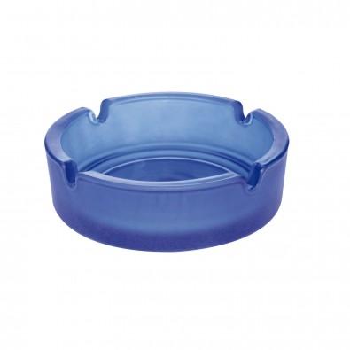 Glas-Aschenbecher, Frosted/Blau