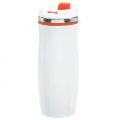 Metall-Isolierbecher Smooth Weiß/Orange