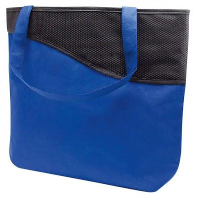 Einkaufstasche XL mit Reißverschluss Knobs, Blau/Schwarz