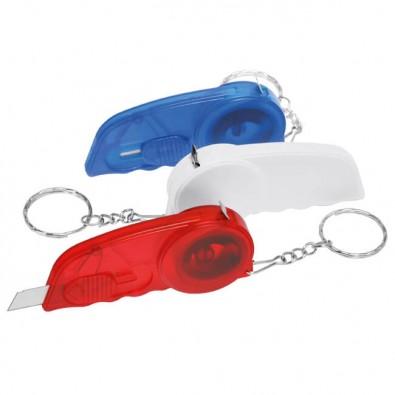 Schlüsselanhänger-Cutter mit Maßband, Blau/Gefrostet