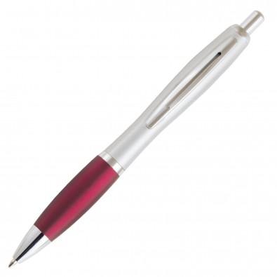 Metall-Kugelschreiber Chicago Silber, Rot