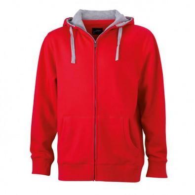 Original James & Nicholson Sweat-Jacke mit Kapuze Rot | L