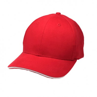 6-Panel-Sandwich-Cap, Rot/Weiß