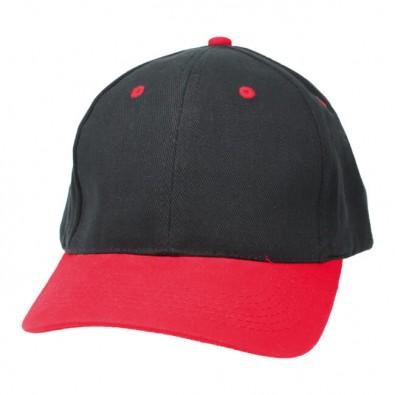 6-Panel-Cap Brushed Heavy, Schwarz/Rot