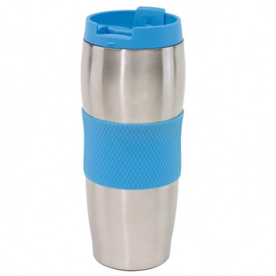 Edelstahl-Isolierbecher Kaffeepause Silber/Blau