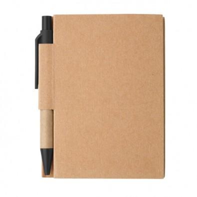 Notizbuch mit Kugelschreiber Mini Natur/Schwarz