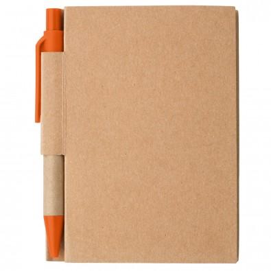 Notizbuch mit Kugelschreiber Mini, Natur/Orange