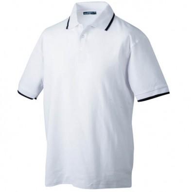 Original James  Nicholson Polo-PiquE für Herren, Weiß/Navy, XL