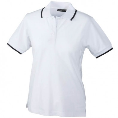 Original James & Nicholson Polo-Piqué für Damen Weiß/Navy   S