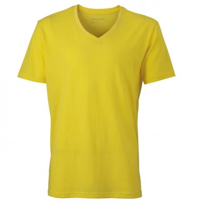 Original James  Nicholson V-Neck T-Shirt für Herren, Gelb/Melange, XXL