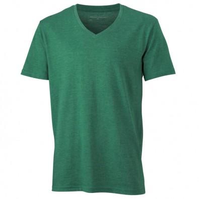 Original James  Nicholson V-Neck T-Shirt für Herren, Grün/Melange, M
