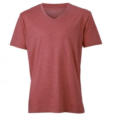 Original James  Nicholson V-Neck T-Shirt für Herren, Rot/Melange, L