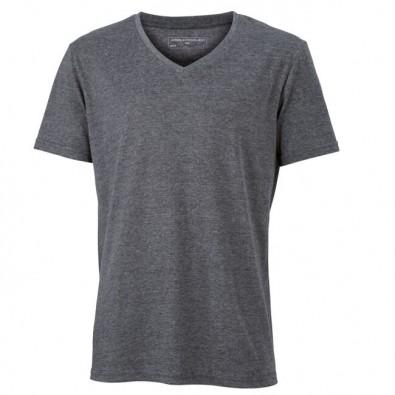 Original James  Nicholson V-Neck T-Shirt für Herren, Schwarz/Melange, M