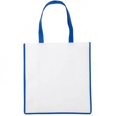 Vlies-Einkaufstasche Trend Weiß/Blau