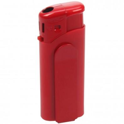 Piezo-Feuerzeug mit Metall-Clip Mini Rot