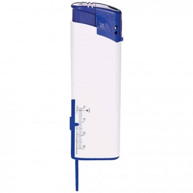 Piezo-Feuerzeug mit Reifenprofilmesser Weiß/Blau