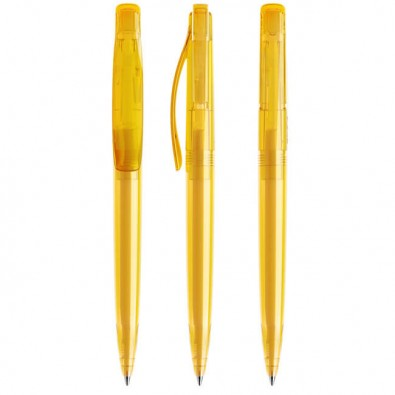 Prodir Druckkugelschreiber DS 2 ohne Metallspitze Gelb Transparent
