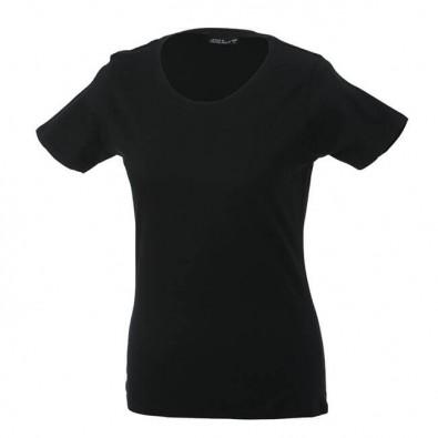 Original James & Nicholson Rundhals T-Shirt für Damen Schwarz | XL