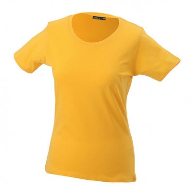 Original James & Nicholson Rundhals T-Shirt für Damen Gelb | S
