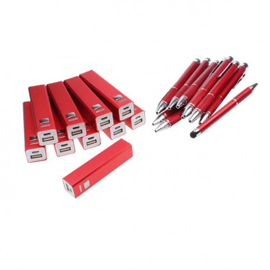 Werbe-Sparset: Powerbank  Touch-Kugelschreiber, 50-tlg., Rot