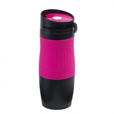 Metall-Isolierbecher Grip Schwarz-Pink