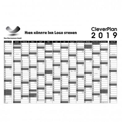 Wandplaner 2019 Schwarz-Weiß/Grau   ohne Druck