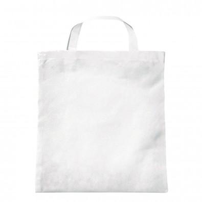 Vliestasche Textile mit kurzen Henkeln Weiß