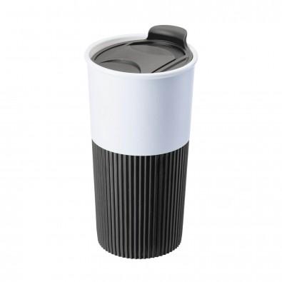 Trinkbecher mit Griffmanschette Schwarz/Weiß