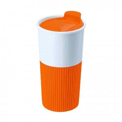 Trinkbecher mit Griffmanschette Orange/Weiß