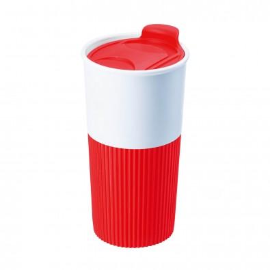 Trinkbecher mit Griffmanschette Rot/Weiß