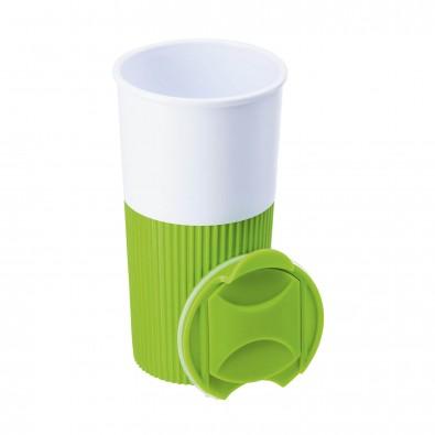 Trinkbecher mit Griffmanschette Hellgrün/Weiß