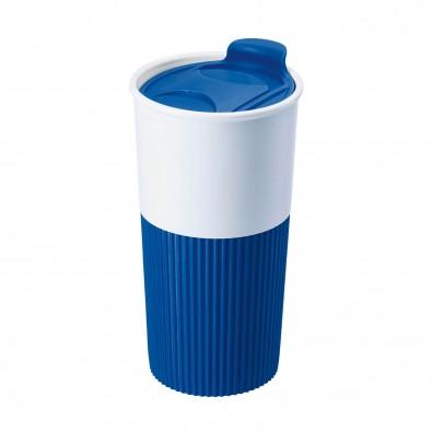 Trinkbecher mit Griffmanschette Kobaltblau/Weiß