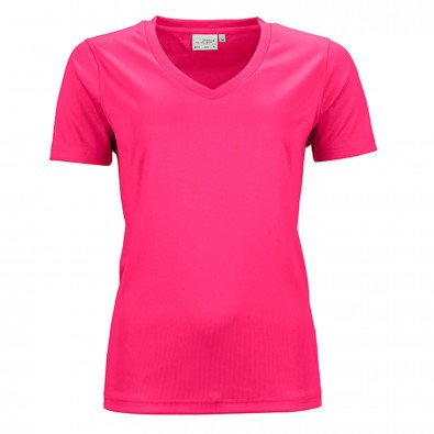 Original James & Nicholson Damen Funktions T-Shirt Active Pink | XL