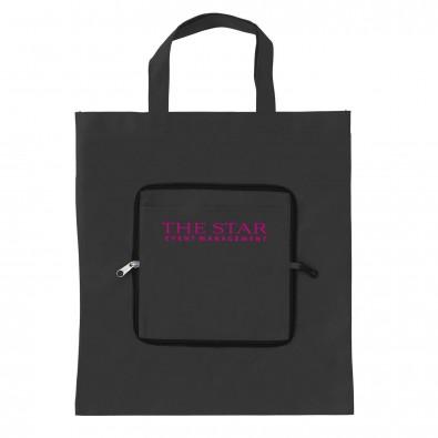 Faltbare Vlies-Einkaufstasche, Schwarz