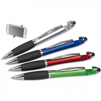 Touch-Kugelschreiber mit Handyhalterung, Blau-Metallic
