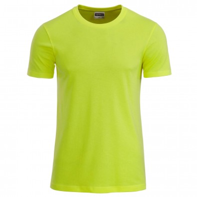 Original James & Nicholson Basic T-Shirt aus Bio-Baumwolle Acid-Yellow | L