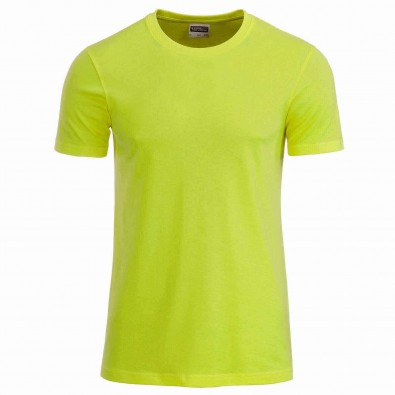 Original James & Nicholson Basic T-Shirt aus Bio-Baumwolle Acid-Yellow | XL