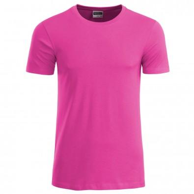 Original James  Nicholson Herren Basic T-Shirt aus Bio-Baumwolle, Pink, XXL