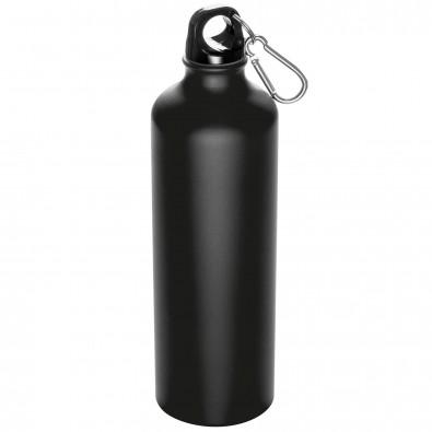 Trinkflasche aus Metall mit Karabiner, 800 ml Schwarz