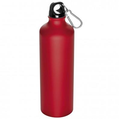Trinkflasche aus Aluminium mit Karabiner, 800 ml, Rot-Matt